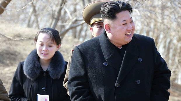 Kim Yo Jong with Kim Jong Un (Korean Central News Agency/Korea News Service/AP)