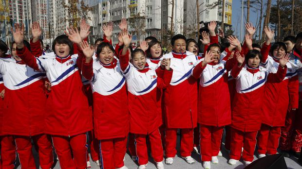 North Korean athletes during a welcome ceremony at the Olympic Village in Gangneung, South Korea