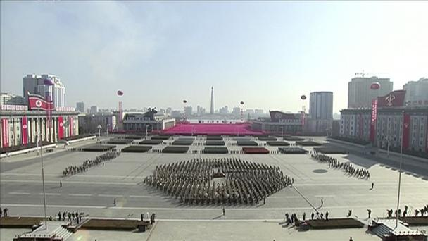 In this image made from video released by KRT, a military parade is held in Kim Il Sung Square in Pyongyang (KRT via AP)
