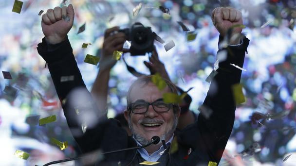 Presidential candidate Rodrigo Londono has faced protests on the campaign trail (AP)