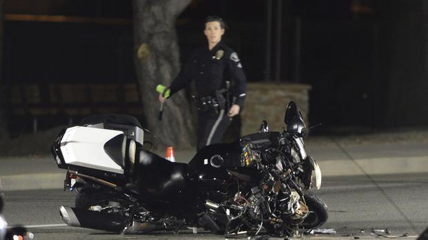 A damaged motorcycle from a crash involving Canadian Prime Minister Justin Trudeau's motorcade (Ryan Remiorz/The Canadian Press/AP)