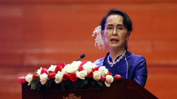 Aung San Suu Kyi speaks during the signing ceremony (AP/Aung Shine Oo)
