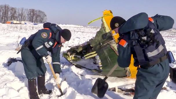 The scene of the plane crash in Stepanovskoye (Russian Ministry for Emergency Situations/AP)