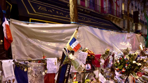Floral tributes outside the Bataclan Theatre in Paris (Adam Davy/PA)