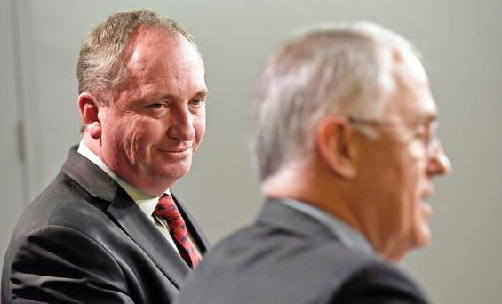 Australia's deputy prime minister Barnaby Joyce, left, and prime minister Malcolm Turnbull. Photo: AFP/Getty
