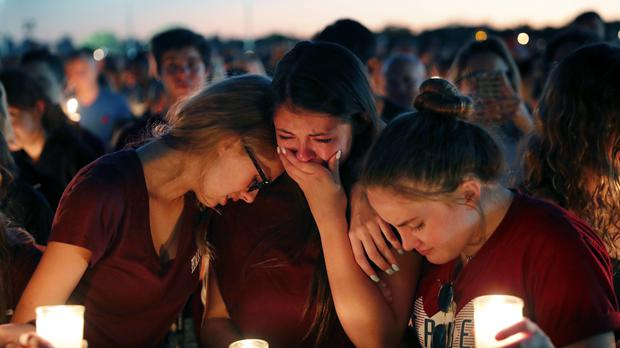Students during a candle-lit vigil in Parkland, Florida