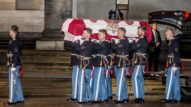 rince Henrik's coffin arrives at Christiansborg Palace Church in Copenhagen (Mads Claus Rasmussen/AP)