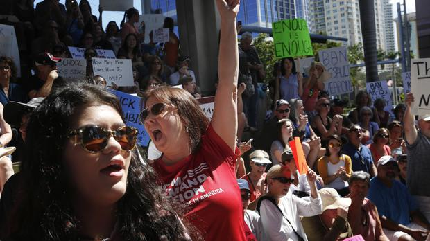 Protesters outside the Broward County federal courthouse in Fort Lauderdale, Florida