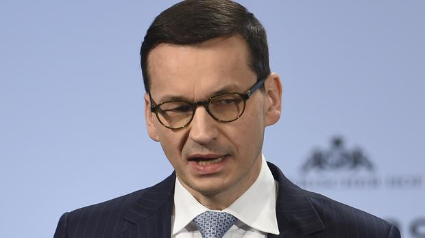 Poland's Prime Minister Mateusz Morawiecki speaks at the Security Conference in Munich, Germany (Andreas Gebert/AP)
