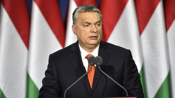 Viktor Orban delivers his annual State of Hungary speech (Zoltan Mathe/AP)