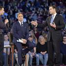 Marjory Stoneman Douglas High School student Cameron Kasky asks a question to Sen. Marco Rubio during a CNN town hall meeting (Michael Laughlin/AP)