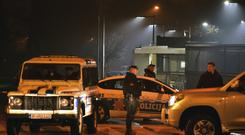 Police block off the area around the U.S. Embassy in Montenegro's capital Podgorica (Risto Bozovic/AP)