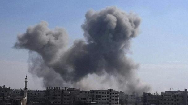 Air strikes have been targeting hospitals in other civilian sites in Ghouta, a suburb of Damascus (Ghouta Media Center via AP)