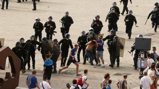 Violence broke out between Russian and English supporters in Marseille (Niall Carson/PA)