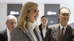 Ivanka Trump arrives at Incheon International Airport in Incheon (Ahn Young-joon/AP)