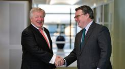 Keith Skeoch, Standard Life CEO (right) and Martin Gilbert, Aberdeen Asset Management CEO, after the two companies agreed terms on a merger (PA)