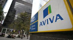 A sign for Aviva offices, one of the offices at 1 Undershaft in central London (PA)