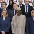 European Union foreign policy chief Federica Mogherini with Chad's President Idriss Deby and other Sahel region leaders in Brussels (AP)