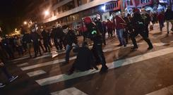 Basque riot police clash with followers of Athletic Bilbao and Spartak Moscow (AP)