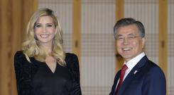 South Korean president Moon Jae-In shakes hands with Ivanka Trump (AP)