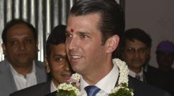 Donald Trump Jr attends an event at the Trump Tower in Mumbai (AP)