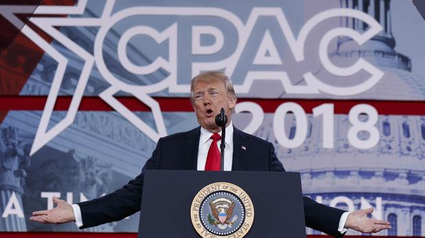 President Donald Trump delivers remarks to the Conservative Political Action Conference (AP)