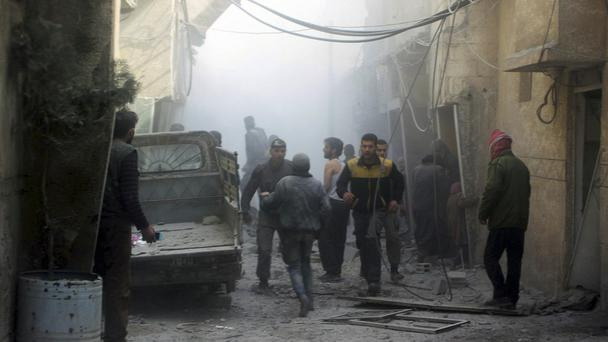 Ghouta has been bombarded by shelling (Syrian Civil Defense White Helmets via AP)