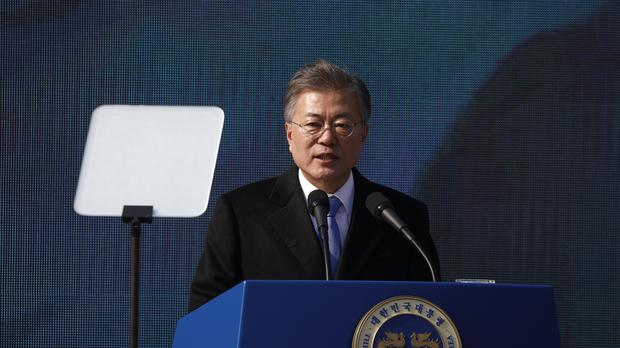 Japan has lodged a formal protest over Moon Jae-in's remarks (AP)