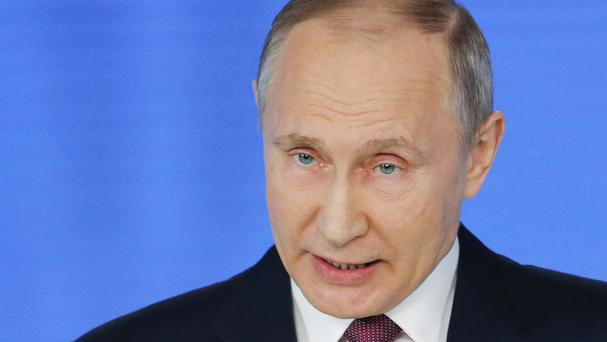 Mr Putin said the new weapons are 'invulnerable to interception' (AP)