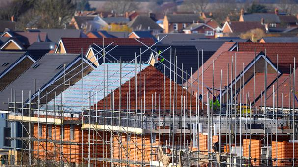 A picture of houses being built as the latest economic data on the construction industry is released (PA)