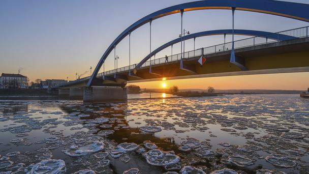 Ice floats on the river Oder which is the border of Germany and Poland (AP)