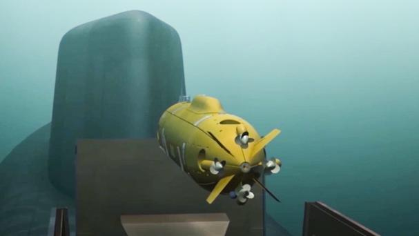 A computer simulation shows a Russian nuclear-powered underwater drone being released by a submarine (AP)