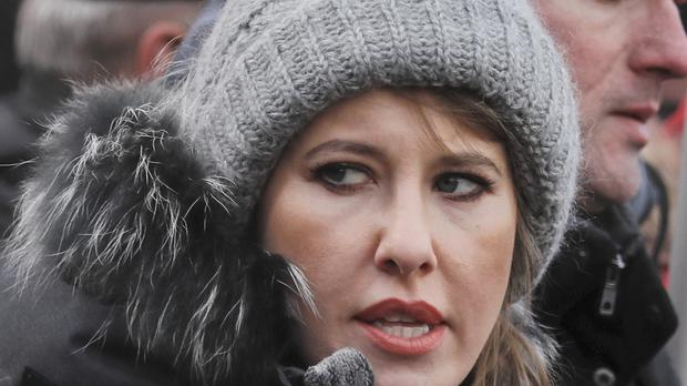 Kesnia Sobchak is running for Russia's presidency (Pavel Golovkin/AP