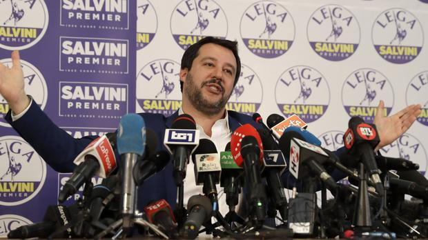 The League's Matteo Salvini gives a press conference (Luca Bruno/AP)