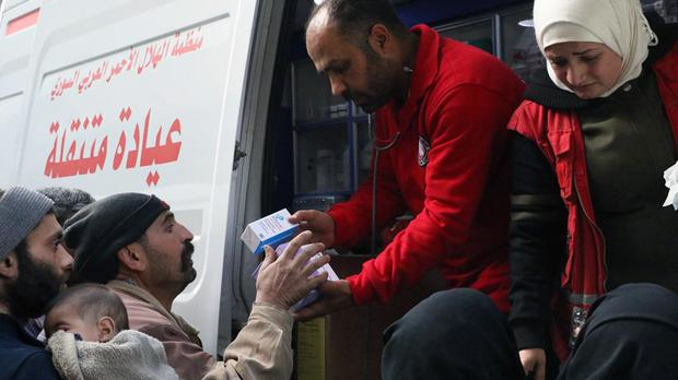 Aid is delivered in eastern Ghouta (Syrian Red Crescent/AP)