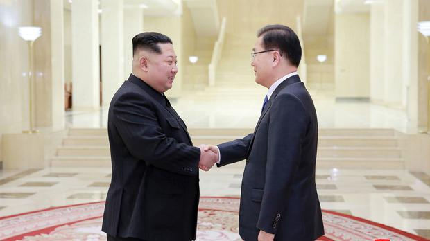 Kim Jong Un meets Chung Eui-yong (Korean Central News Agency/Korea News Service/AP)