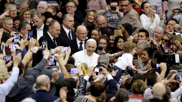 Pope Francis arrives for his weekly general audience (Alessandra Tarantino/AP)