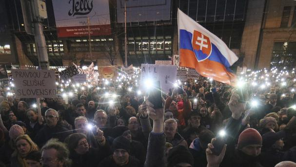 Demonstrators at an anti-government rally in Bratislava, Slovakia (Ronald Zak/AP)