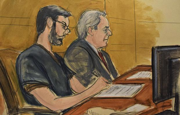 A courtroom sketch of the former pharmaceutical CEO, left, next to his lawyer Ben Brafman (Elizabeth Williams/AP)