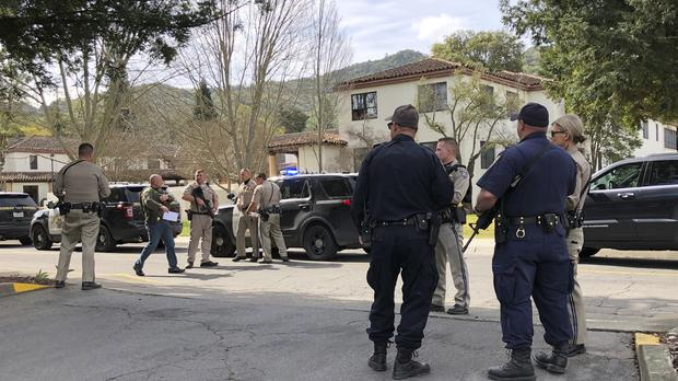 Law enforcement members stage at the Veterans Home of California after reports of an active shooter (JL Sousa/Napa Valley Register/AP)