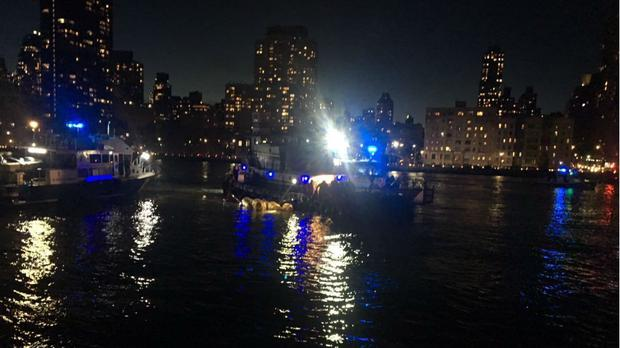The scene of a helicopter crash in the East River in New York