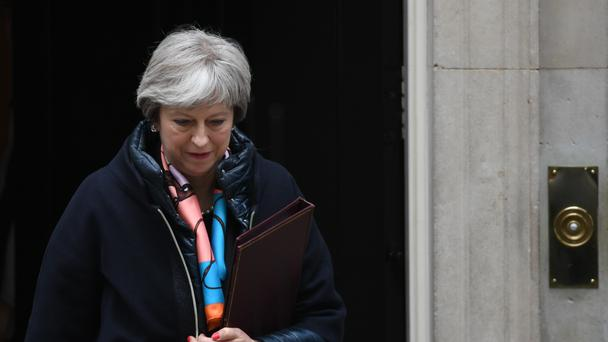 Prime Minister Theresa May leaves Downing Street, to listen to Chancellor of the Exchequer Philip Hammond deliver his first spring statement at the House of Commons, London, against a slew of positive economic indicators (PA)