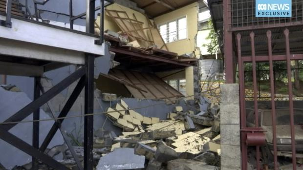 A damaged building following the earthquake in Papua New Guinea (Australia Broadcasting Corporation via AP)
