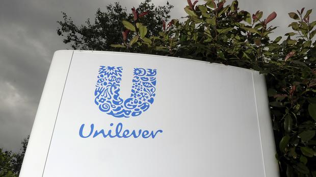 Unilever sign, as the consumer goods giant picked Rotterdam over London for its headquarters (PA)