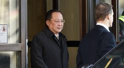 North Korean Foreign Minister Ri Yong Ho in Sweden (Vilhelm Stokstad/TT/AP)