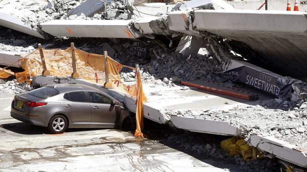 The new pedestrian bridge that was under construction collapsed on to a busy Miami road on Thursday