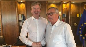 UNITED CAUSE: INM Group Editor-in-Chief Stephen Rae (left) with European Commission President Jean-Claude Juncker