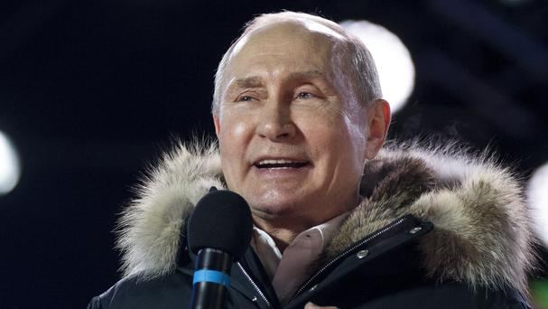 Russian President Vladimir Putin addresses his chanting supporters in Moscow (AP)