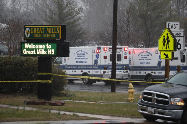 Deputies, federal agents and rescue personnel converge on Great Mills High School (Alex Brandon/AP)