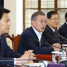 South Korean President Moon Jae-in speaks during a meeting to prepare a planned summit between South and North Korea (Bee Jae-man/Yonhap via AP)